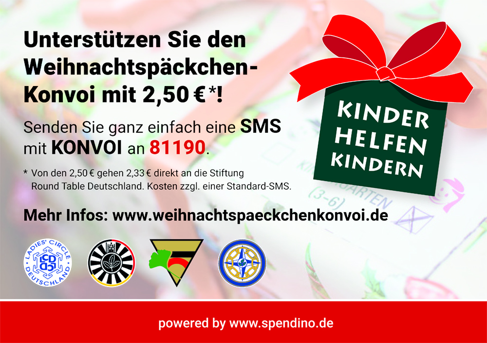 Weihnachtspäckchenkonvoi Spenden SMS